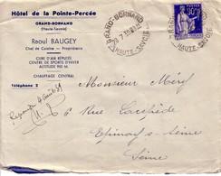 HAUTE SAVOIE - GRAND-BORNAND - TYPE PAIX - ENTETE HOTEL DE LA POINTE-PERCEE RAOUL BAUGEY - 28-7-1939. - Manual Postmarks