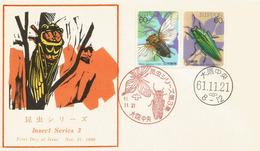 Cigale & Coléoptère  Japonais  .  FDC Japon - Insects