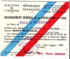 Carte De Recensement  Marseille (1 Mars 1968 Gaston Defferre) - Zonder Classificatie