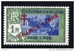 INDE ßurcharge »Croix De Lorraine Et FRANCE LIBRE»  Maury  215 II ** Signé - Inde (1892-1954)