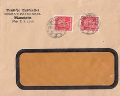 DR Brief Mef Minr.2x 391 Mannheim 15.5.28 Perfins Dun - Deutschland