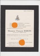 LIEGE 1954 Mr François BARON - ANGELIQUE - Announcements