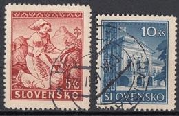 Slovacchia 1939-1944 Sc. 42-44 Primavera - Residenza Presidenziale Used Slovensko - Usati