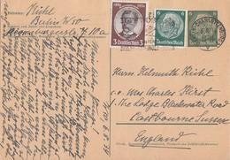 DR Ganzsache Zfr. Minr.516,540 Berlin-Charlottenburg 6.8.34 Gel. Nach England - Briefe U. Dokumente