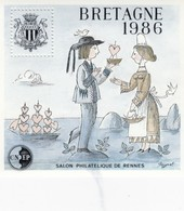 FRANCE - 1986 BLOC BEUILLET N°7  SOUVENIR C.N.E.P. - BRETAGNE SALON PHILATELIQUE DE RENNES / 2 - CNEP
