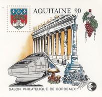 FRANCE - 1990 BLOC FEUILLET N°12   C.N.E.P. - AQUITAINE -  SALON PHILATELIQUE DE BORDEAUX  / 2 - CNEP