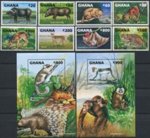 GHANA 1993 Monkeys Wild Cats Bats Wild Animals Fauna MNH - Scimmie