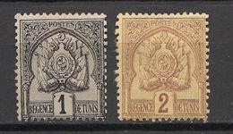 Tunisie - 1888-1898 - N°Yv. 9 - 10 - Armoiries 1c / 2c - Neuf * / MH VF - Tunisie (1888-1955)
