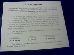 Ville De Mayenne 1964 Invitaion Au Conours Agricole De Cheval De Trait Du Maine..foire Expo De La Mayenne - Announcements