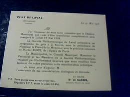 Ville De Laval Invitation Au  Thèatre Municipal Gala De Mr Roux De L'opèra De Paris 1958 - Announcements