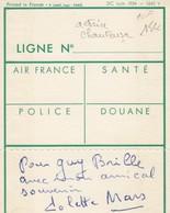 FRANCE -  AUTOGRAPHE COLETTE MARS ACTRICE ET CHANTEUSE   SUR CARTE DE CONTROLE AIR FRANCE / 2 - Autografi