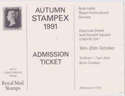 Autumn STAMPEX 1991 - Tickets D'entrée