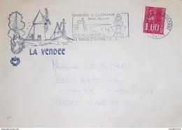 VENDÉE Enveloppe Illustrée La Vendée.. Flamme Sables D'Olonne - Marcophilie (Lettres)