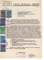 1960 YUGOSLAVIA, SLOVENIA, KOPER, HOTEL TRIGLAV, LETTERHEAD, MEMORANDUM - Invoices & Commercial Documents