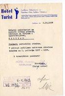 1958 YUGOSLAVIA, SLOVENIA, LJUBLJANA, HOTEL TURIST, LETTERHEAD, MEMORANDUM - Invoices & Commercial Documents