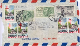 Mexico 1960 Airmail Cover To Italy With 5 X 10 C. Again Tuberculosis + 2 X 50 C. Archaeologia + 5 $ 150th Independence - Messico