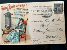 POELES RUBIS AU PETROLE SIGNE PAR RISTELHUEBER INVENTEUR AU DOS TAMPON EXPOSITION UNIVERSELLE 1900 GRAND PRIX CPA - Publicité