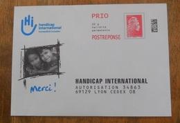 PAP Réponse Handicap International  - Agrément  183225  Pas De N° à L'intérieur - Marianne L'Engagée - Yseult YZ CATELIN - Prêts-à-poster: Réponse