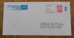 PAP Réponse Fondation ARC  - Agrément  183210  Pas De N° à L'intérieur - Marianne L'Engagée - Yseult YZ CATELIN - Entiers Postaux