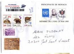 LETTRE RECOMMANDEE AVEC BLOC MONACO N° 62 Oblitérée   (2701) - Used Stamps
