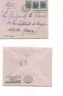 2946) FRANCIA 1929 Cover 50cx3 Due Colori Diversi Cover To Italy - Storia Postale