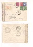 2950) FRANCIA 1940 Registered Cover Quadricolore Spettacolare To Italy Censura Militare - Francia