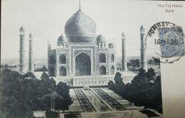 RO) 1916 INDIA, TAJ  MAHAL MAUSOLEUM OF AGRA OPENED 1648, POSTAL CARD STAMP GEORGE V -3a BLUE -SCOTT A46, XF - China