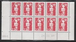 2614 2.30 F. BRIAT Rouge - DEMI BAS De FEUILLE X 10 - RGR 2 Du 24.11.89 - 1989-96 Maríanne Du Bicentenaire