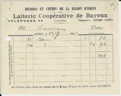 BAYEUX LAITERIE COOPERATIVE BEURRES ET CREMES DE LA REGION D ISIGNY RECU ANNEE 1923 - Sin Clasificación