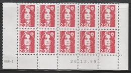 2614 2.30 F. BRIAT Rouge - DEMI BAS De FEUILLE X 10 - RGR 1 Du 26.12.89 - 1989-96 Maríanne Du Bicentenaire