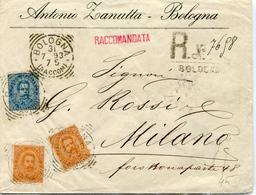 STORIA POSTALE-REGNO D'ITALIA-UMBERTO I-SU BUSTA RACCOMANDATA Vg1893-3 Valori 1 +2-VAL.CAT.47 €-. - Posta
