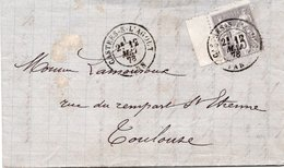 1878 - Cachet CASTRES Sur L'AGOUT (Tarn)  Sur Type Sage 15c Gris YT 77 - De Jules LAVAL (Draps) Lettre Pour Toulouse - Marcophilie (Lettres)