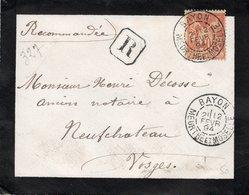 1894 - Recommandé Et Cachet BAYON (Meurthe Et Moselle)  Sur Type Sage 40c Orange YT 94 (devant D'enveloppe) - Marcophilie (Lettres)