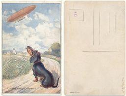 AK Zeppelin Luftfahrt Luftschiff, Hund Dackel Will Leberwurst - Airships