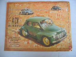 """Dépliant Publicitaire """" La 4 CV RENAULT Par Monts Et Par Vaux Dans Le Monde Entier """" - Publicidad"""