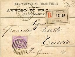STORIA POSTALE-REGNO D'ITALIA-UMBERTO I-SU BUSTA Raccomandata Da Cosenza-Vg1887-1 Valore Da50c-VAL.CAT.100 €-. - Posta