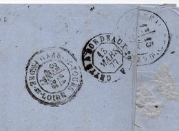 1877 - Au Dos  Cachet Convoyeur  CETTE à BORDEAUX  F Et Devant Cachet ALBI  (Tarn)  Sur Type Sage 25c Bleu - Marcophilie (Lettres)