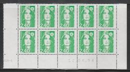 2820 2.40 F. BRIAT Vert - DEMI BAS De FEUILLE X 10 - RGR 1  Du 12.04.94 - 1989-96 Maríanne Du Bicentenaire