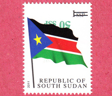 SOUTH SUDAN Surcharge Overprint ERROR  Inverted 50 SSP On 1 SSP Flag Stamp Südsudan Soudan Du Sud - South Sudan