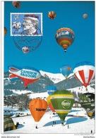 """82 - 71 - Carte Suisse Avec Oblit Spéciale De Chateau D'Oex 1994 """"Champ Du Monde De Dirigeables"""" - Montgolfières"""
