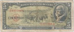 Cuba 5 Pesos 1958 Pk 91 A Ref 609-13 - Cuba