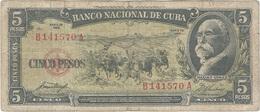 Cuba 5 Pesos 1958 Pk 91 A Ref 609-14 - Cuba