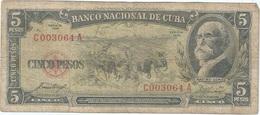 Cuba 5 Pesos 1958 Pk 91 A Ref 609-18 - Cuba
