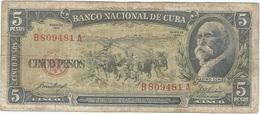 Cuba 5 Pesos 1958 Pk 91 A Ref 609-19 - Cuba