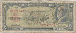 Cuba 5 Pesos 1958 Pk 91 A Ref 609-20 - Cuba
