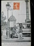 CARTE POSTALE _ CPA VINTAGE : PARIS 11_ TRAMWAY & KIOSQUE à JOURNAUX _ PLACE De La BASTILLE _ 1908  // CPA.L.PARIS133.17 - Arrondissement: 11