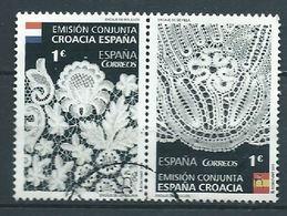 ESPAGNE SPANIEN SPAIN ESPAÑA 2015 LACES ENCAJES CONJUNTA CON WITH CROACIA SET 2V. USED ED 4957-58 MI 4966-67 - 1931-Today: 2nd Rep - ... Juan Carlos I