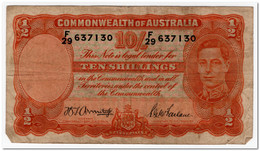 AUSTRALIA,10 SHILLINGS,1942,P.25b,FINE + - Monnaie Locale