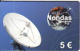 GREECE - Satellite Dish & Globe, Nondas Telecom Global Prepaid Card 5 Euro, Exp.date 01/01/01, Used - Raumfahrt