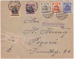 Polen MiNr. 130-134 Auf R-Bf. Von Gnesen Nach Posen (R962) - Briefe U. Dokumente